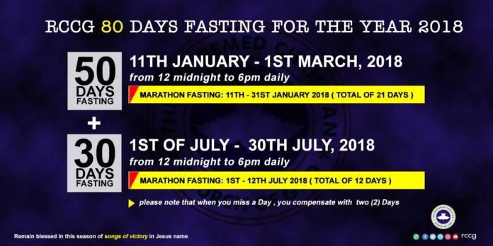 Prayer Points For The RCCG 2018 80-days Prayer & Fasting