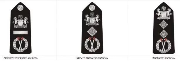 Nigeria Police Ranks And Symbols In Picture - Inspector General, Deputy Inspector General, and the Assistant Inspector General